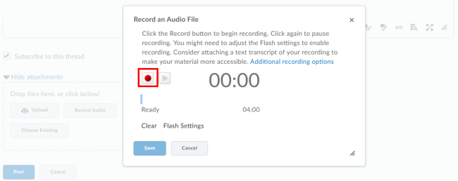 click Record button