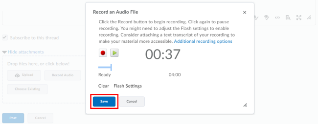 click Save to add the audio file to your post
