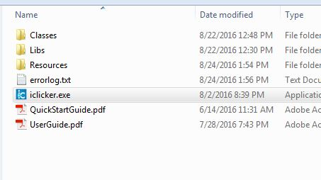 Screenshot of iclicker file structure