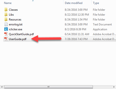 Screenshot of User Guide location in file structure.