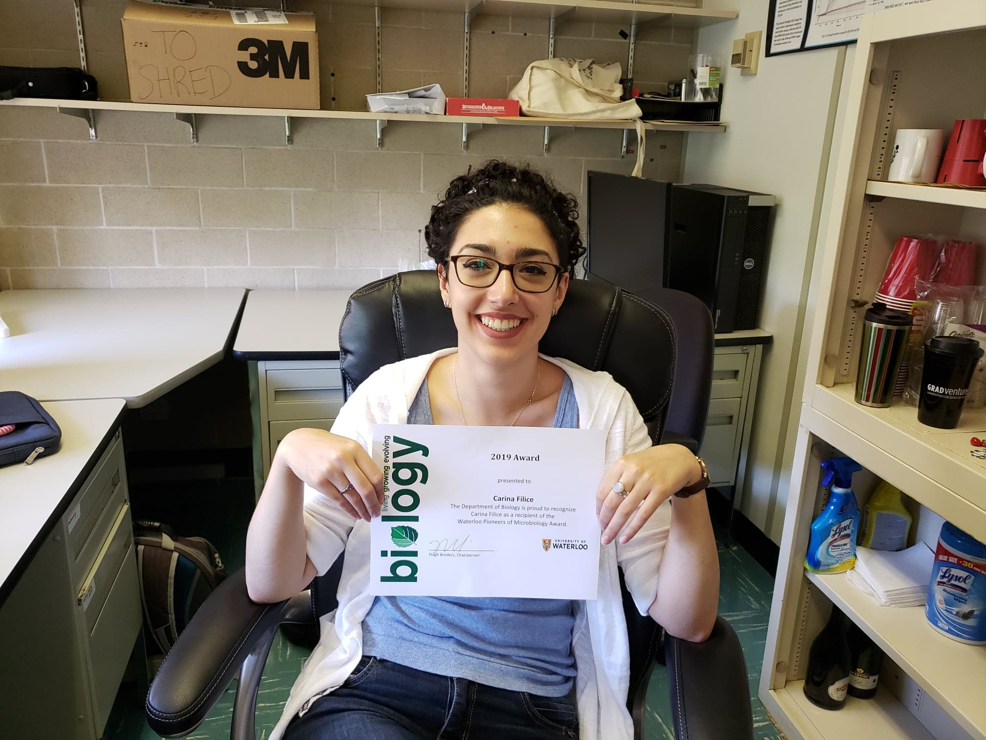 Carina Receives Waterloo Pioneers of Microbiology Award 2019!