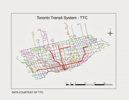 Toronto Bus And Subway Map.Toronto Transit Commission Ttc Subway Bus Routes As Well As