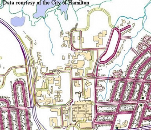 map shows building footprints and roads around McMaster University