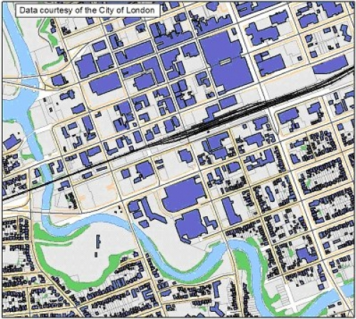 map of downtown london shows buildings water vegetation streets and railway