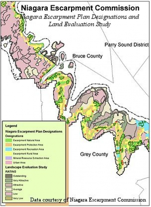 Niagara Escarpment Wisconsin Map.Niagara Escarpment Plan Data Geospatial Centre University Of