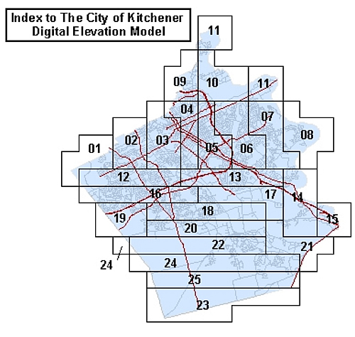 Index to the City of Kitchener digital elevation model