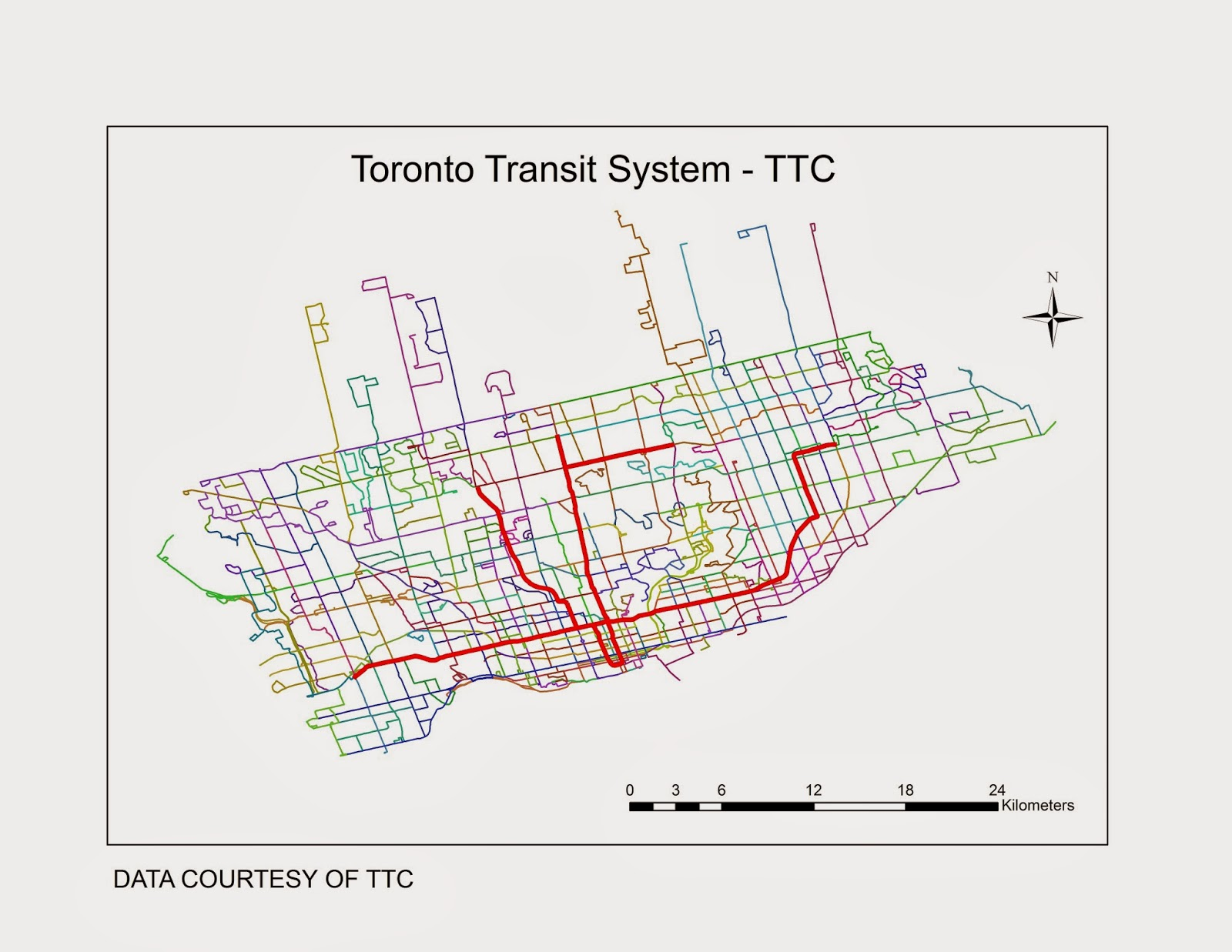 Toronto Subway Stations Map.Toronto Transit Commission Ttc Subway Bus Routes As Well As Subway Stations Geospatial Centre University Of Waterloo