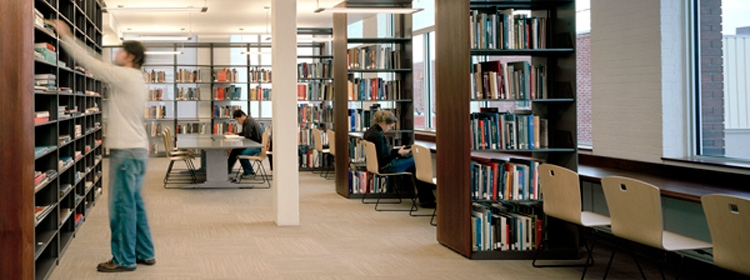 Students in the study area of the Musagetes Library