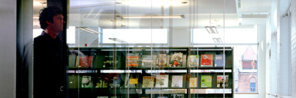 Entrance and current journals area of the Musagetes Library
