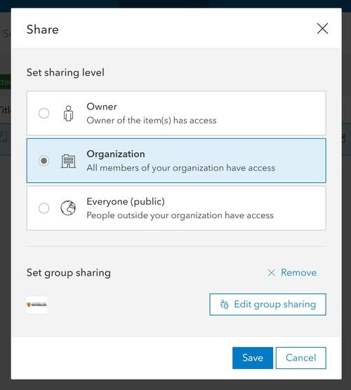 The Share window in the ArcGIS Online Organization