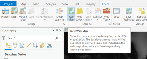 The webmap sharing function in ArcGIS Pro
