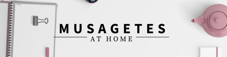Musagetes at home banner with white notebook and a teapot.