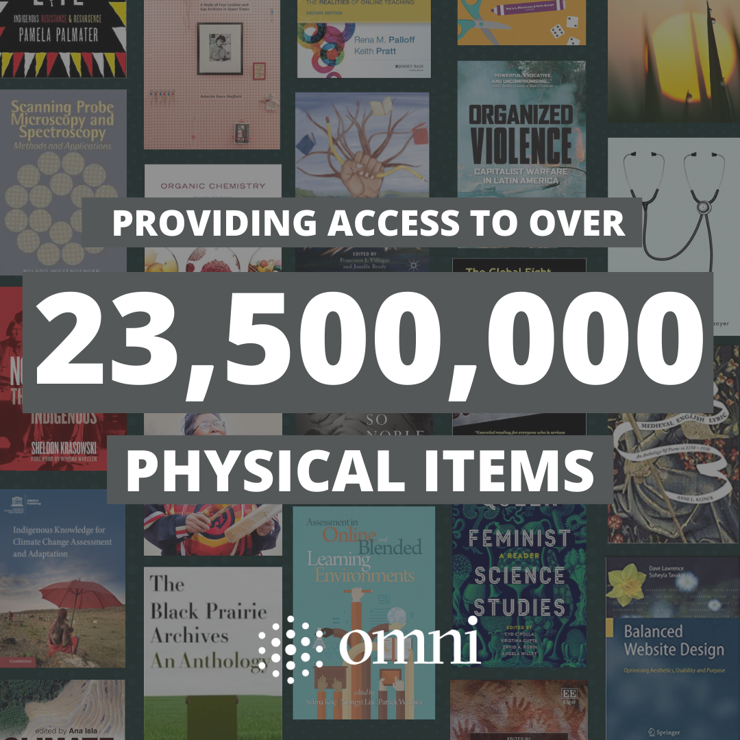 Providing access to over 23,500,000 physical items' against background of various book covers