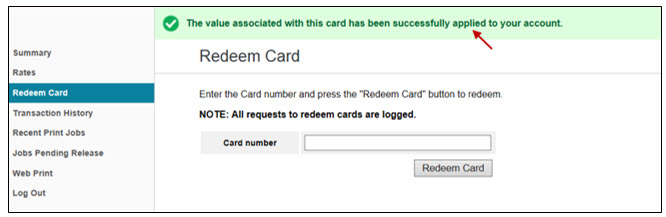 redeem card confirmation screen