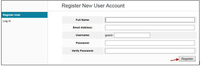 register new user account