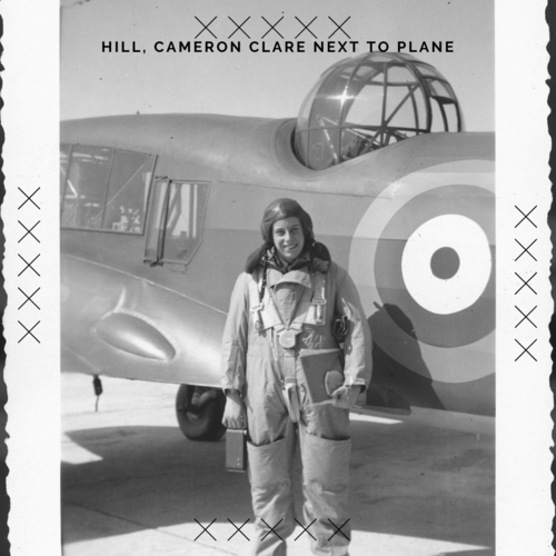 Hill, Cameron Clare next to plane