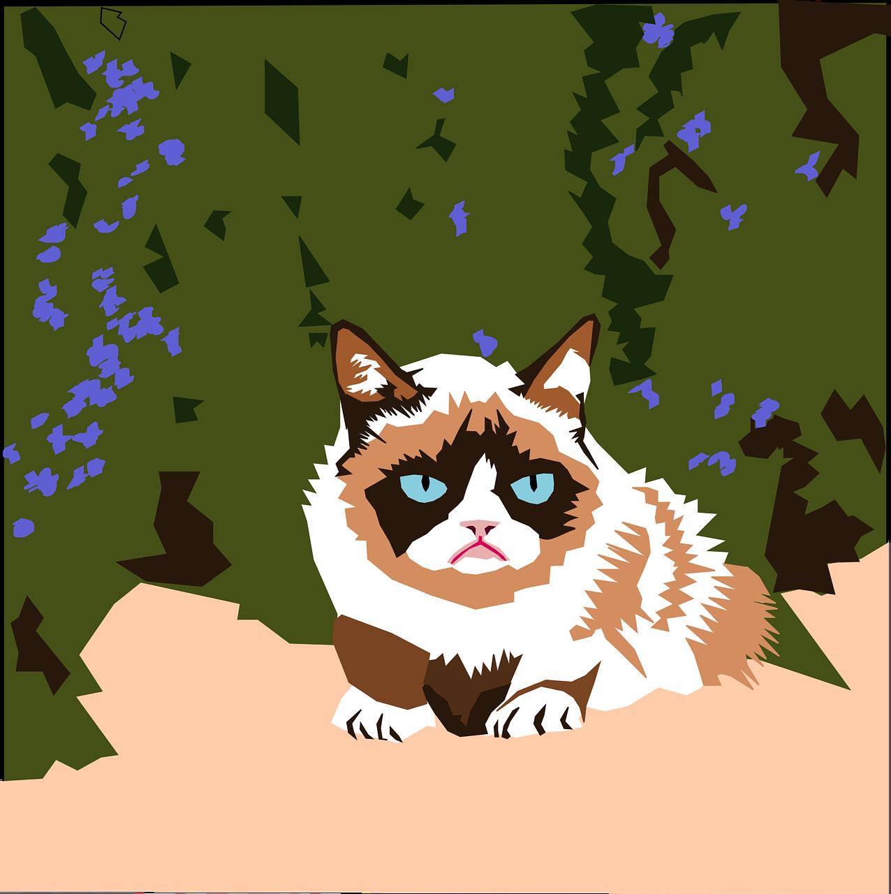 Grumpy cat pixelated