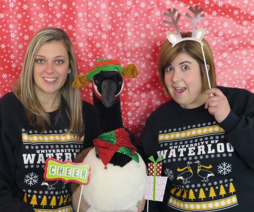 Kailee and Mary Lynne with Scholar the goose