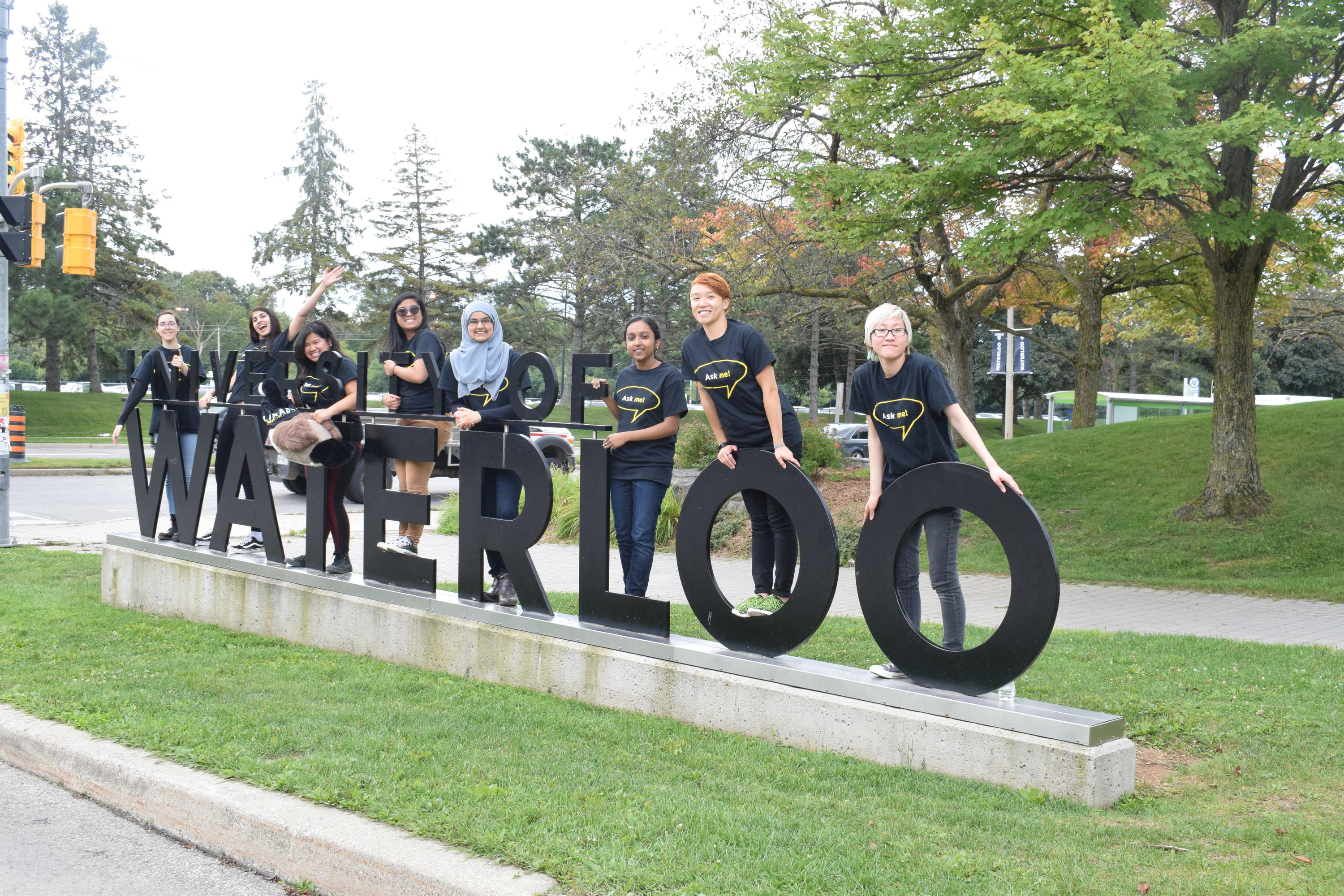 8 women standing at the front of the University of Waterloo