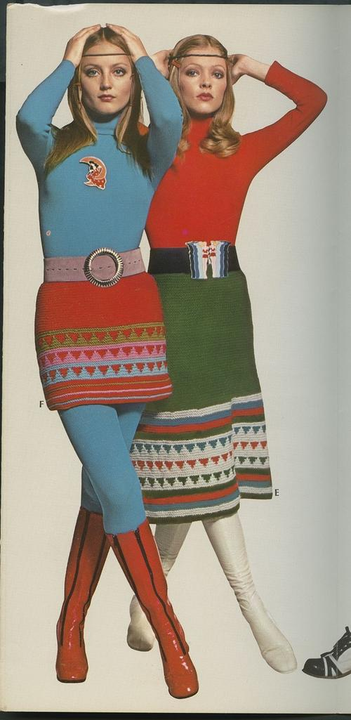 Women wearing knit skirts from the 1970s