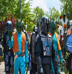 star wars characters walking in a parade