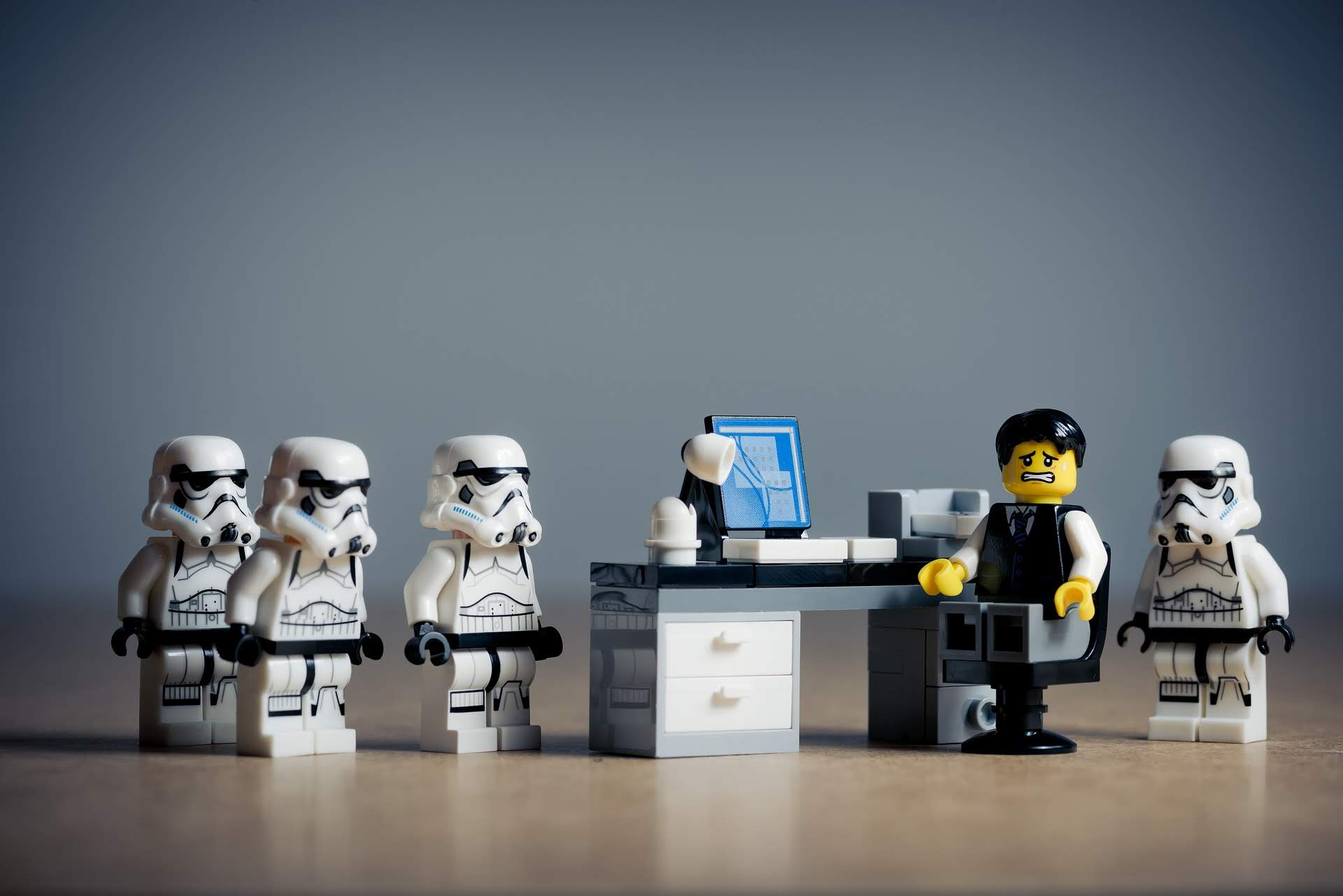stormtroopers accosting office worker