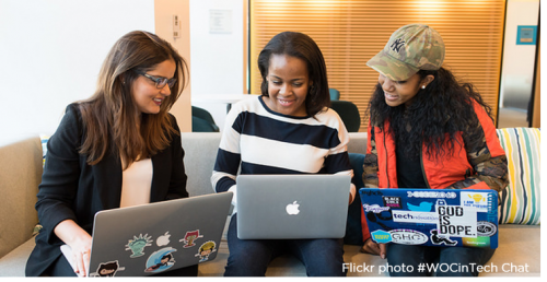 Flickr photo #WOCinTech Chat (three women working together on their laptops)