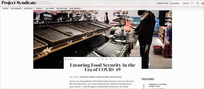 """Sample Project Syndicate article entitled """"Ensuring Food Security in the Era of COVID-19"""". Photo featuring one shopper wearing a face mask in a near empty market."""