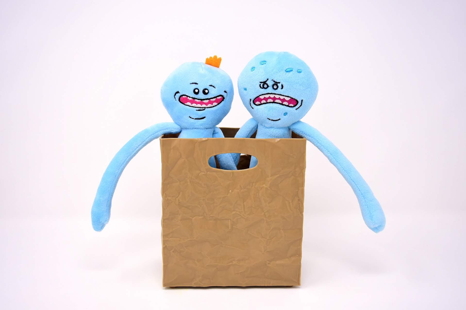 2 blue plush people in a box