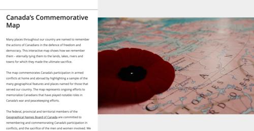 Canada's Commemorative map