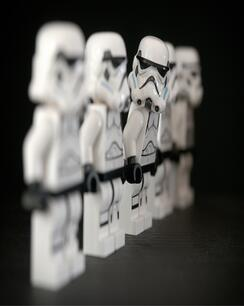 star wars lego figures standing in a line
