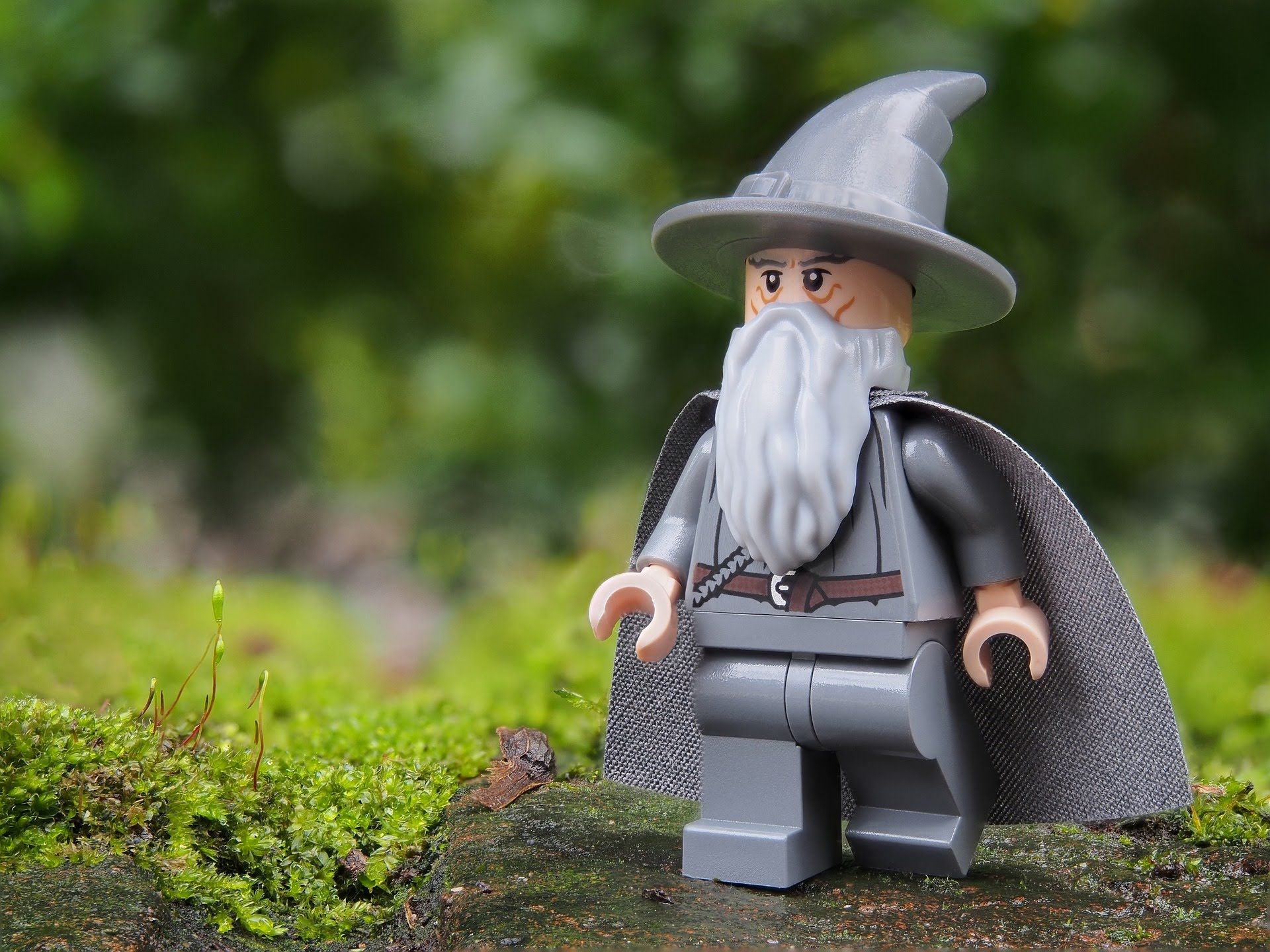 Lego Gandalf walking in the woods
