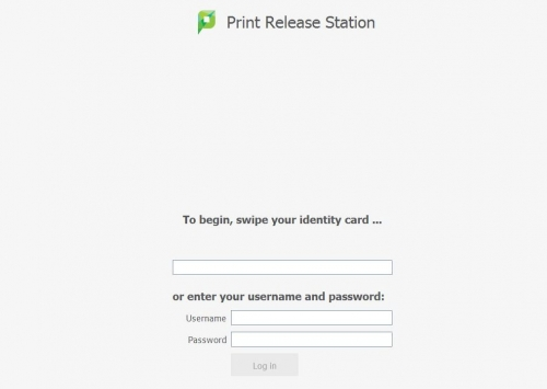 Print Release Station login screen