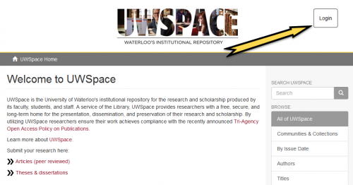 """Go to UWSpace and """"Login"""" or create an account."""