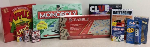 Variety of board games including Apples to Apples, Monopoly, Clue, Scrabble, etc.