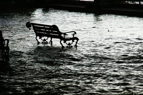 flooding around a park bench