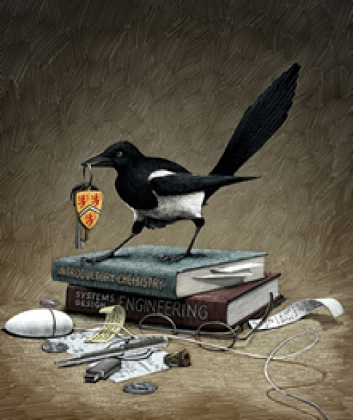 Magpie with Waterloo items