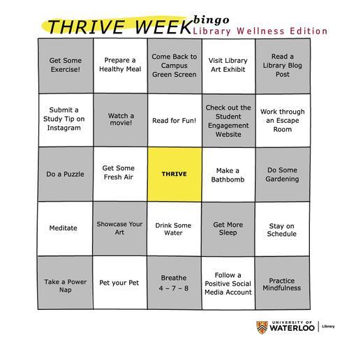 Thrive Week Library Bingo; Wellness Edition