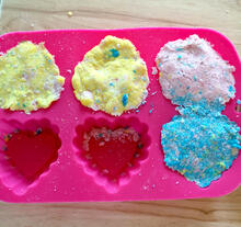 bath bombs in heart molds