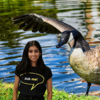 green screen example of student and goose