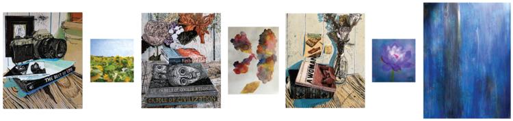 Exhibit showing seven artworks