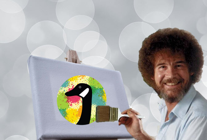 Bob Ross painting a goose
