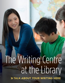Writing Centre at the Library poster showing a woman helping students