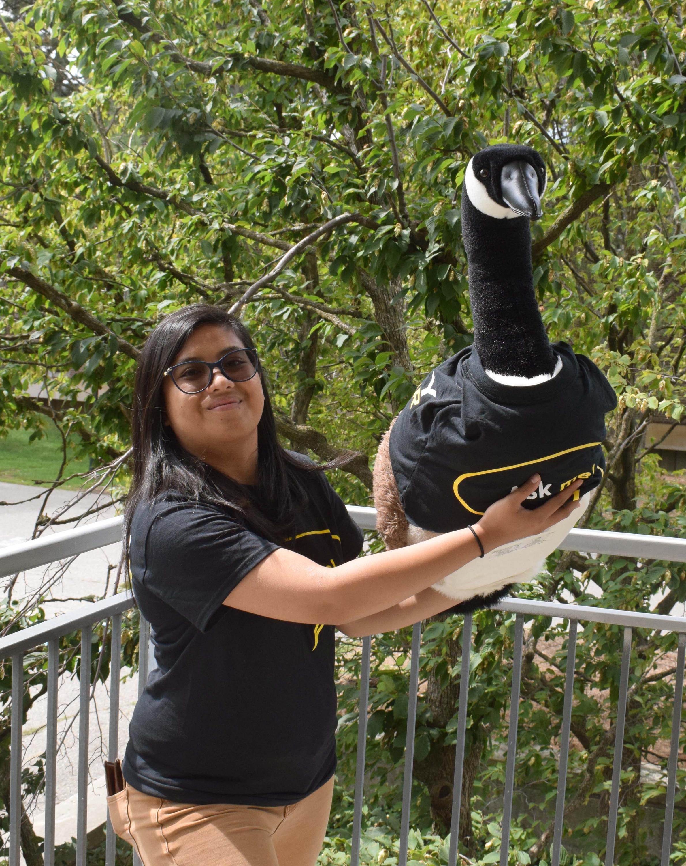 Alexis holding goose