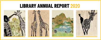 title: Library Annual Report 2020, content: 4 images of Sarah Wilkins' artwork