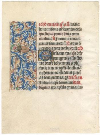 book of hours vellum leaf