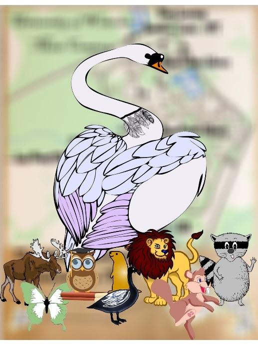 drawing of goose, lion, beaver, swan, moose, beatle