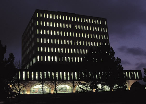 Dana Porter Library at night