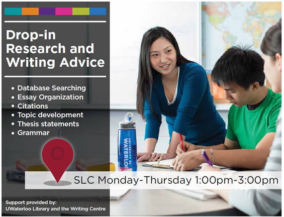 Drop-in research and writing advice: database searching, essay organization, citations, topic development, thesis statements.