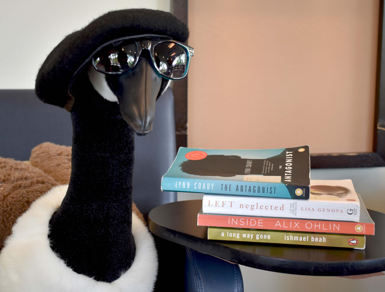 Beatnik goose with book spine poem